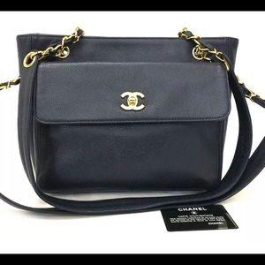 CHANEL CC Caviar Skin Chain Tote Bag Navy Blue